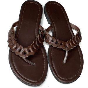 Seychelles brown leather braided flip flops - 9